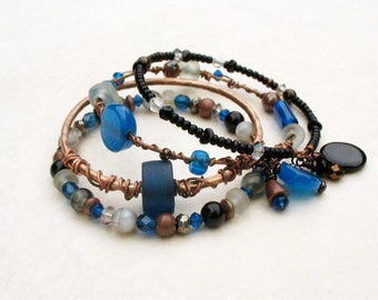 Boho Gypsy Bangles Stack Bracelets, Black, Electric Blue, Hammered Bronze Metal Bangles, Beaded Bangles One of a Kind Set of Four