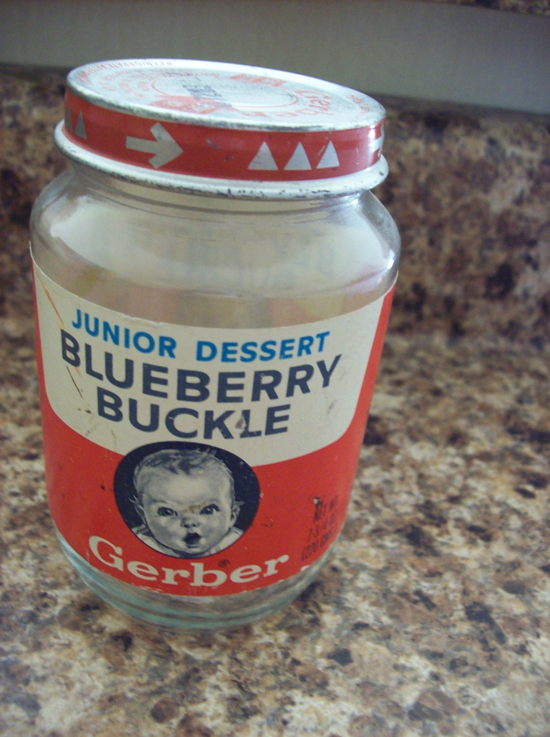 Vintage Gerber Blueberry Buckle Junior Dessert Baby Food Jar