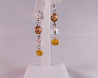 Swarovski Aurora Borealis and Faceted Crystal and Czech Faceted Bead Dangle Earrings on Sterling Silver Ear Wires, DE38