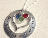 SALE Beautiful, hand stamped and handmade~ I love you to the moon and back~ CUSTOM sterling chain and swarovski crystal charms