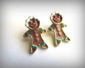 Vintage Signed Aim Two Part Ginger Bread Man Earrings