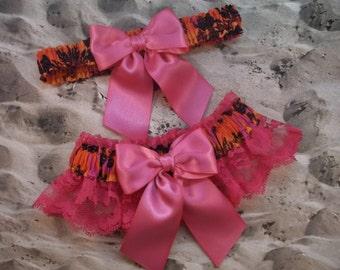 Hawaiian Print Hot Pink Ribbon Hot Pink Lace Bridal Wedding Garter Set Toss