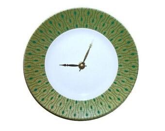 Unique Plate Wall Clock, 9 Inch Wall Clock,  Kitchen Clock, Wall Decor, White and Green Clock, Peacock Home Decor, No. 1183