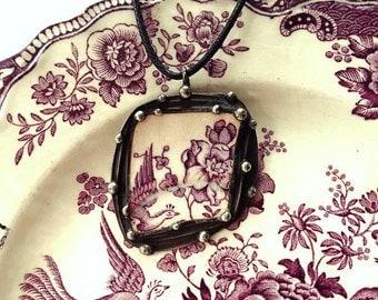 Broken china jewelry pendant necklace antique purple plum English transferware with bird