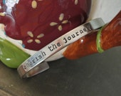 """Handstamped, Custom, Personalized Copper or Nickel Silver Phrase Cuff Bracelet 6"""" or 7"""""""