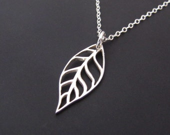 Sterling Silver Necklace, Leaf Necklace, Pendant Necklace, Jewelry, Gift