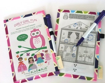 Girl's Dry-Erase Activity - Girl's Activity, Kids Travel Game, Eco-Friendly, Summer Game, Kid Gift, Party Favor