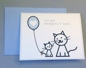 Blue/Black/Grey/Yellow Kitty Cats with Heart Balloon Father's Day A2 Folded Card (Choose Your Envelope Color)