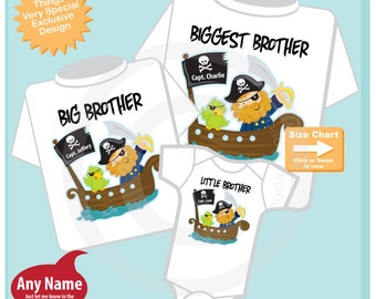 Set of Three Biggest Brother, Big Brother Shirt, and Little Brother Shirt or Onesie Set Personalized Pregnancy Announcement (08082014b)