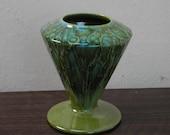 Vintage Green Drip Glaze Pottery Deco   Vase