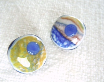 Fused Glass Buttons, Art Button, Landscape, cobalt, yellow, white, chartreuse, green, blue, sewing button, knitting supplies, round, two