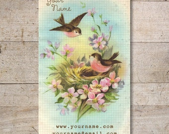 Business Cards - Custom Business Cards - Jewelry Cards - Earring Cards - Display Cards - Vintage Birds in Love - No. 46