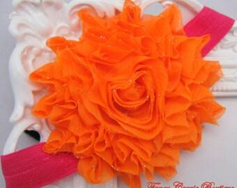 Baby headband ,Flower Headband,Orange Flower Headband,Baby flower Headband,Orange Headband,Baby girl Headband,Girl Headband,McCall Headband