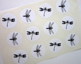 Dragonfly Stickers One Inch Round Seals
