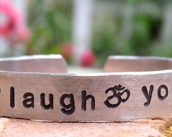 Yoga Bracelet, Live Laugh Yoga, Personalized Jewelry, Hand Stamped, Aluminum