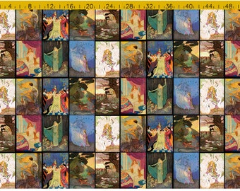 Custom quilting fairy tale fabric of Vintage Fairytale art printed to order