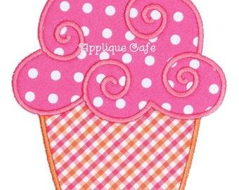 483 Swirly Cupcake Machine Embroidery Applique Design