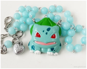 Pokemon Bulbasaur Necklace, Aqua Blue Beaded Chain - Anime Jewelry, Gamer, Kawaii