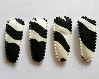 25 pcs - Black Zebra graphic Hair Clip COVERS - size 35 mm