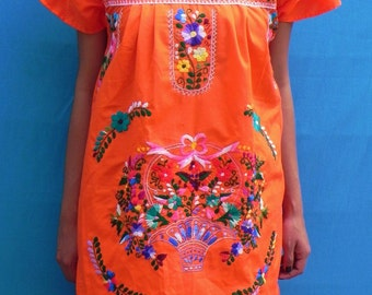 Mexican Orange Mini Dress Floral Colorful Embroidered Handmade Spring / Summer Medium