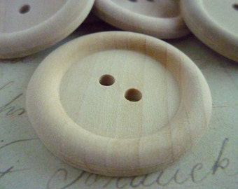 Wooden Buttons, Extra Large Round Wood Buttons, 35mm, WHOLESALE - Pack of 200