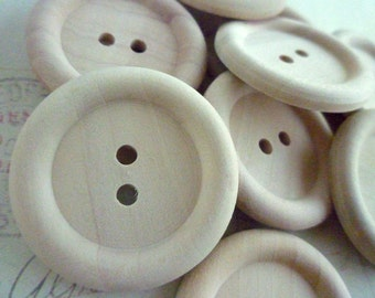 Wooden Buttons, Extra LARGE - 35mm - Round Wood Buttons, PACK OF 20