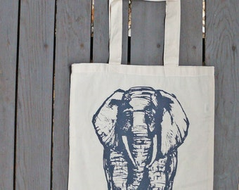 African Elephant Tote Bag / Eco Friendly Tote in Natural White