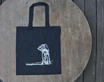 Star Wars Atat Walker Hipster Tote Bag in Black / shopping tote / Beach Bag