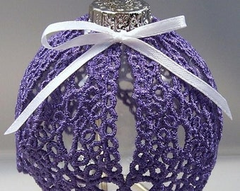 Lace Covered Clear Ornament with Crosslet Purple Lace Cover