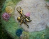 Vintage Inspired Charm Zipper Pull, Antique Bronze with Birds, Moons and Keys