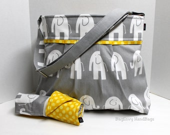 Monterey Diaper Bag Set - In Elephants in Grey and Mustard Yellow Dot - Large - Adjustable Strap and Elastic Pockets