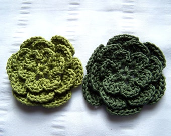 Appliques flowers  2.5inch cotton green set of 2