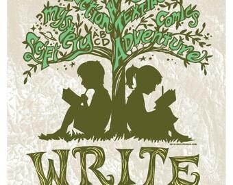 Writing Tree - 8x10 Art Print, Every Story An Adventure