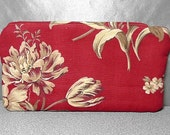 Padded Zipper Pouch Clutch in Red Tan and Cream Flower Cotton Bag Purse Travel Case
