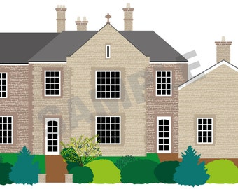 Personalised house portrait - a digitally printed illustration of your home
