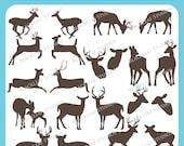 Deer Reindeer Antelope Antlers Silhouette Vector EPS elk, buck, doe, fawn, woodland, premade logo design - Personal Commercial Clip Art