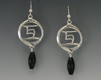 Together Sterling Silver Earrings, Black Onyx
