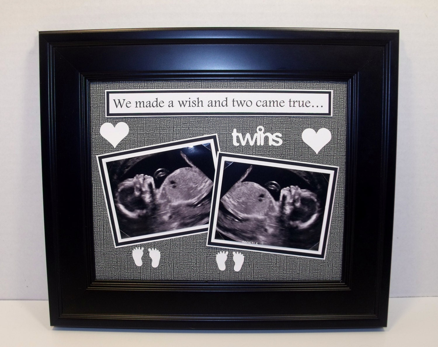 We Made A Wish And It Was You We Made: Twins Sonogram Ultrasound Sonogram Photo Mat We Made A Wish