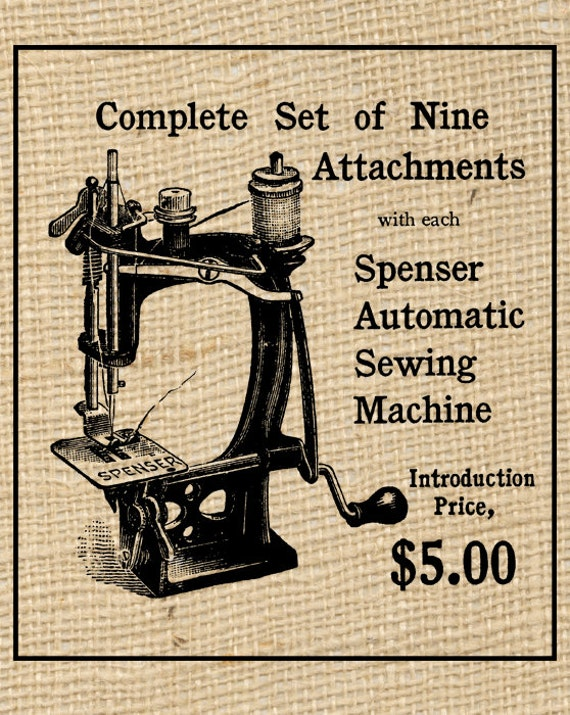 Vintage Sewing Machine Ad Printable Digital Download Transparent PNG Good for Iron On Transfers Burlap Tote Bags or Home Decor