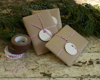 Gift Wrapping - Brown Paper Packages Tied up with String - Gift for Gardener
