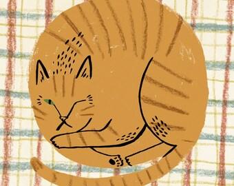 SALE: Curled Up Cat card