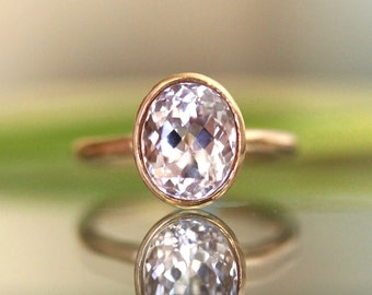 Kunzite 14K Gold Engagement Ring, Gemstone Ring, Stacking Ring,  - Made to Order