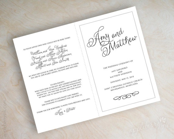 Simple plain black and white script name bi fold wedding for Catholic wedding mass booklet template