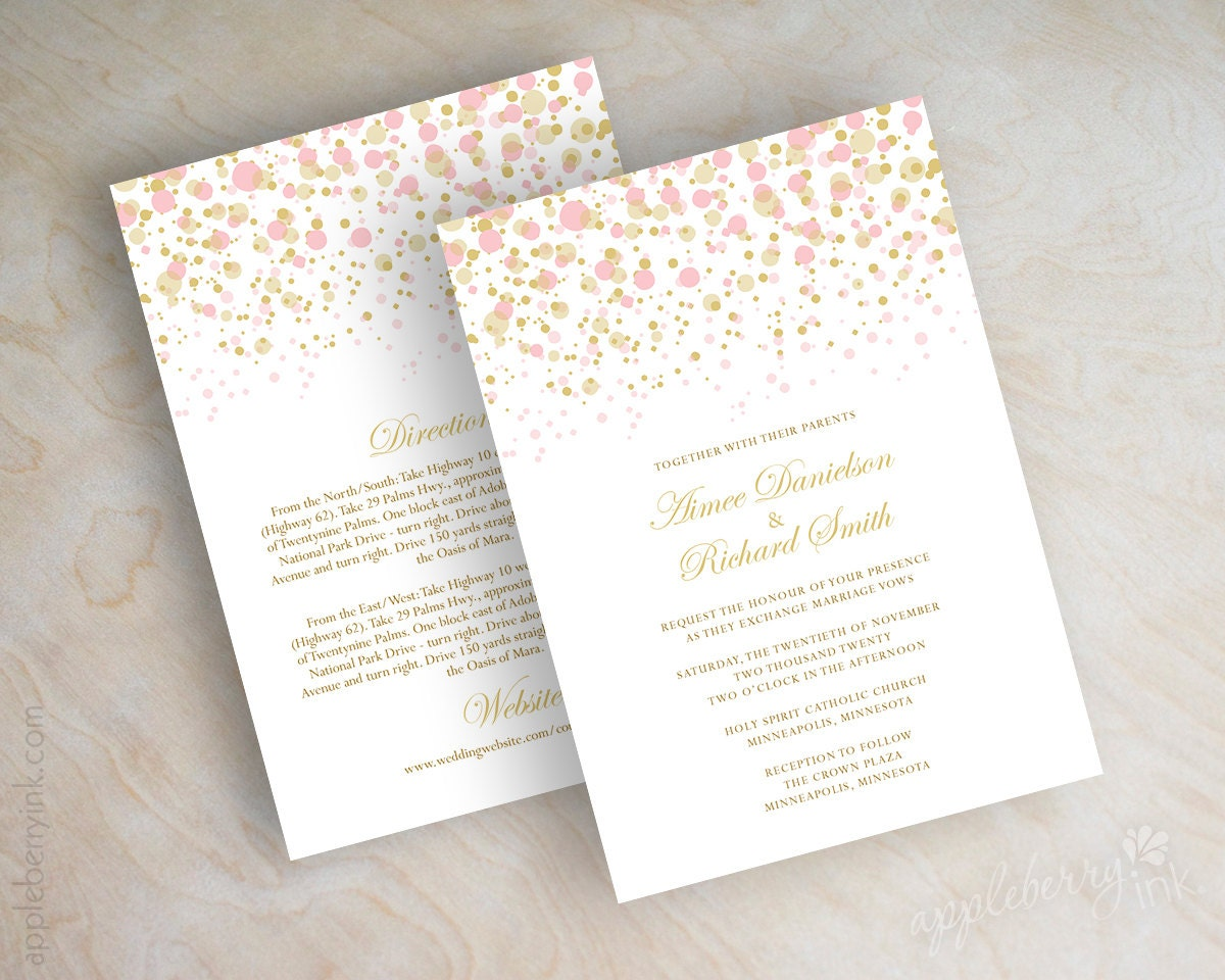 blush pink and gold polka dot wedding invitations modern, Wedding invitations