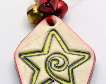 Sale / On Sale / Clearance / Marked Down / Yellow Star Polymer Clay Ornament -  OR00015