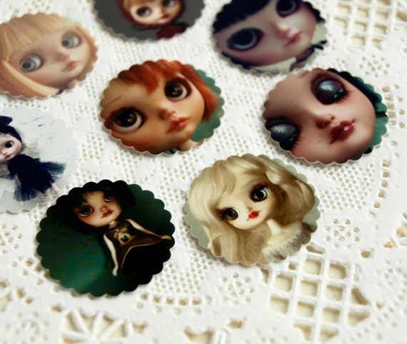 Doll stickers set 6, cute stamp stickers / seals, for scrapbooking, collage n decoration, art by KarolinFelix