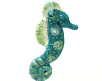 Turquoise Seahorse Ornament, Hand Built Ceramic Seahorse