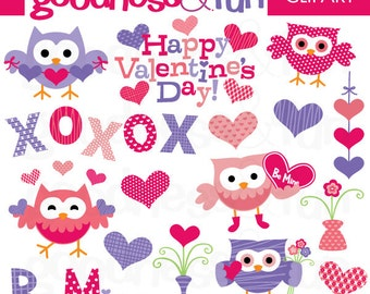 Buy 2, Get 1 FREE - Happy Valentine's Day Owls Clipart - Digital Valentine Clipart - Instant Download