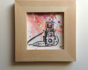 Vintage Camera Art Original Illustration Abstract Watercolor Painting 3x3 Miniature Painting Includes Frame
