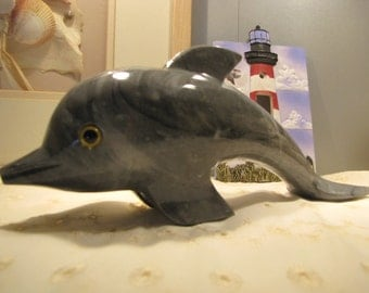 Vintage Dolphin Figurine Summertime Fun in the Water Onyx/ Marble Dolphin
